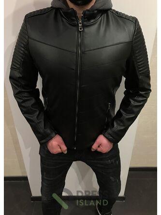 Куртка кожзам Delphino с капюшоном (4059)