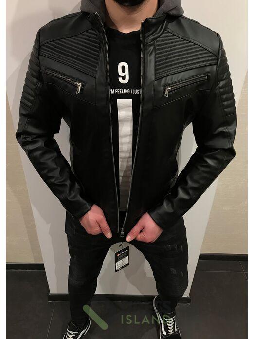 Куртка кожзам Delphino полубатал с капюшоном (4074)